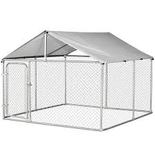 Pawhut 7 5 X7 5 X5 6 Large Outdoor Dog Kennel Galvanized Steel Fence With Oxford Cloth Roof And Lock Dog Kennels Dog Crate Aosom