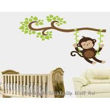 Monkey On Swing Wall Decal Cute Monkey Wall Sticker Nursery Wall Decals Large Monkey Wall Decal Nursery Wall Stickers