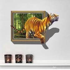 New 3d Tiger Wall Decal Adhesive Removable Cartoon Wall Stickers Wallpaper Mural Art Home Decor Decals For The Home Decals For The Wall From Kity12 4 93 Dhgate Com
