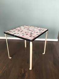 side table with ceramic tile top 1950s