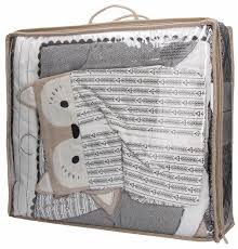 Elgeo Levtex Baby Bailey Charcoal And White Woodland Themed 5 Piece Crib Bedding Set