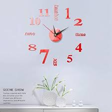 Amazon Com Zcm Wall Clock Wall Clocks Wall Stickers Acrylic Mirror Stickers Modern Mute Self Adhesive Art Decal Wall Clocks Home Decor Color Red Sheet Size 40x40cm Home Kitchen