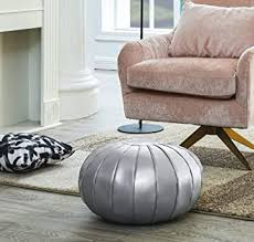 Amazon Com Comfortland Faux Leather Ottoman Poufs Folding Unstuffed Pouf Covers 20 X 11 Inches Round Foot Rest Small Foot Stools Bean Bag Chair Storage Solution For Living Room Bedroom Kids Room Silver