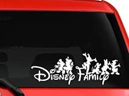 Amazon Com La Decal Family Mickey And Friends Car Truck Suv Mac Book Laptop Tool Box Wall Window Decal Sticker Approx 8 Inches White Automotive