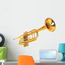 Amazon Com Wallmonkeys Polished Brass Trumpet Wall Decal Peel And Stick Graphic 24 In W X 16 In H Wm364928 Furniture Decor