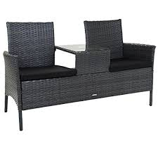 rattan companion love seat chair bench