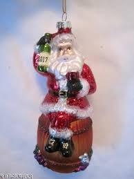 blown glass santa ornament wine barrel