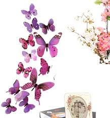 Amazon Com 24pcs Butterfly Wall Decor 3d Butterflies Wall Stickers Removable Mural Decals Home Decoration Kids Room Bedroom Decor Purple Arts Crafts Sewing