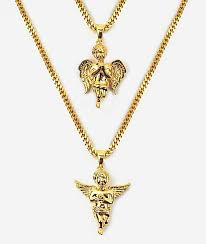 micro angel gold necklace layered set