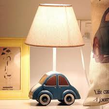 Car Table Lamp Creative Led Children Nightstand Desk Lamp With Fabric Shade Boys Kids Room Bedroom Bedside Lamp Amazon Com