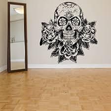 Amazon Com Vinyl Sugar Skull Wall Decal Skull Wall Sticker Mexican Wall Decor Wall Graphic Wall Mural Home Art Decor X Large Black Home Kitchen