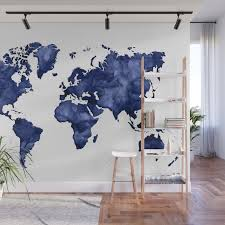 Dark Navy Blue Watercolor World Map Wall Mural By Blursbyaishop Society6