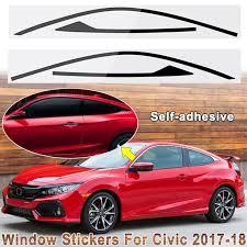 Window Frame Sticker Decals Trim For Honda Civic Coupe 2 Door 2017 2018 Matte Black Glossy Black 2pcs Walmart Com Walmart Com