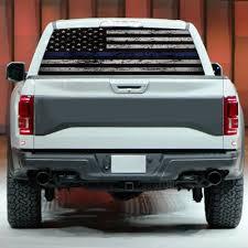 Car Sticker Blue Thin Line American Flag Rear Window Graphic Decal For Car Truck Suv 135 36cm Walmart Com Walmart Com