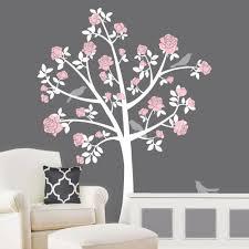 Tree Wall Decals Chinoiserie Rose Tree Flower Girl Nursery Etsy Baby Nursery Wallpaper Tree Wall Decal Flower Bedroom