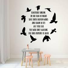 Beatles Blackbird Song Lyrics Vinyl Wall Decal With Bird Silhouettes Customvinyldecor Com