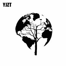 Yjzt 17 2cm 20cm Tree Nature World Map Cool Decor Vinyl Decal Car Sticker Black Silver C11 0942 Car Stickers Aliexpress