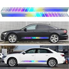 2pcs Car Side Body Vinyl Decal Stickers Stripe Laser Decals Graphics Universal Sale Banggood Com