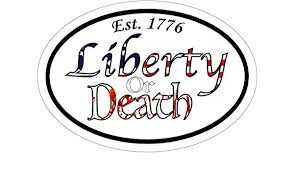 Amazon Com Ngk Trading Oval Est 1776 Liberty Or Death Vinyl Window Decal Patriotic Bumper Stickers 1776 Sticker Made In Usa 5 Kitchen Dining