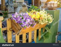 Colorful Flower Pots Fence Nature Stock Image 626079521