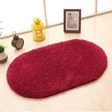 Sunsky Faux Fur Rug Anti Slip Solid Bath Carpet Kids Room Door Mats Oval Bedroom Living Room Rugs Size 160x230cm Wine Red