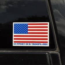 American Flag Bumper Sticker Car Decal With Supportourtroops Org Footer Support Our Troops