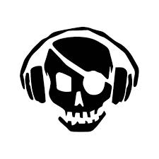 Pirate Skull Headphones Dj Vinyl Sticker