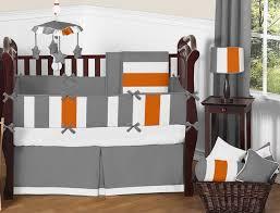gray and orange crib bedding collection