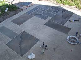 concrete patio faux slate w i p
