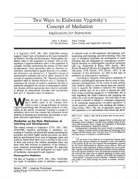 PDF) Two Ways to Elaborate Vygotsky's Concept of Mediation: Implications  for Instruction