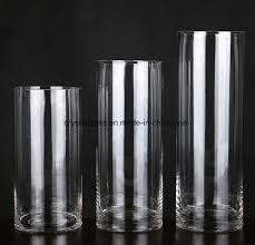 china tall cylinder clear glass vase