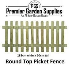 New Round Top Picket Wicket Fence Panels 183cm X 90cm Pressure Treated Ebay