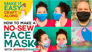 Another great no-sew face mask instructions to share with you thanks to  Jennifer Maker. This one is awesome because it … in 2020   Easy face masks,  Easy face mask diy, Mask