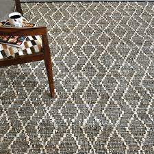 reclaimed leather cotton area rug 8x10