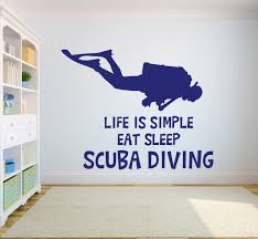 Scuba Diving Quotes Wall Decals Girl Diver Diving Wall Decals Etsy