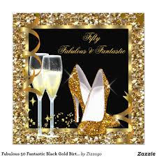 Fabulous 50 Fantastic Black Gold Birthday Party Invitation