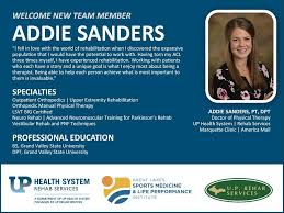 Welcome Addie Sanders, PT, DPT! - UP Rehab Services | Facebook