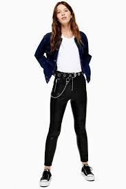 idol skinny biker faux leather pu pants