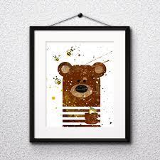 Bear Watercolor Print Bear Art Bear Painting Bear Poster Animal Art Nursery Painting Nursery Art Kids Room Decor Wall Art Vivid Art Designs
