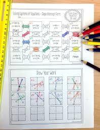 equations maze slope intercept form