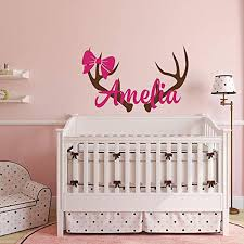 Amazon Com Personalized Hunting Wall Decal Rustic Nursery Decor Girls Name Wall Decal Hunting Themed Woodland Nursery Decor Deer Antlers Wall Decal Home Kitchen