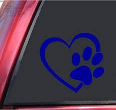 Amazon Com Shadowmajik Heart And Paw Print Vinyl Decal Sticker 4 X 3 7 Blue Automotive