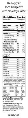 rice krispies nutritional label