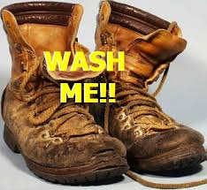 leather boots in the washing machine