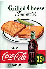 Amazon Com Retro Planet Coca Cola Grilled Cheese Sandwich Wall Decal 1950s Diner 16 X 24 Vintage Style Kitchen Home Kitchen