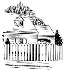 White Picket Fence House Drawing Clip Art Library