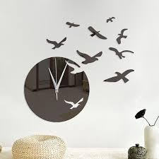 Creative Sea Mew Design Mirror Wall Clock Mew Spon Sea Creative Design Adver Wall Clock Sticker Mirror Wall Stickers Wall Clock