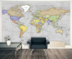Simple Gray Oceans World Political Map Wall Mural Miller Projection