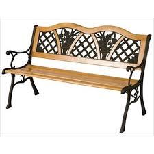 garden flower bench wood metal