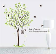 Rocwart Tree Wall Sticker Decal Living Room Kids Baby Nursery Wall Decoration Removable Vinyl Birds Green